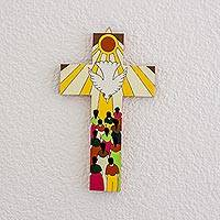Wood wall cross, 'Giver of Life' - Hand-Painted Pinewood Wall Cross of the Holy Spirit