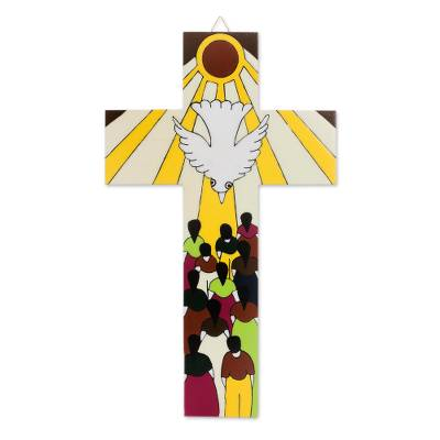 Hand-Painted Pinewood Wall Cross of the Holy Spirit