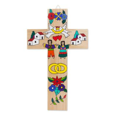 Marriage-Themed Pinewood Wall Cross from El Salvador