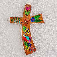 Wood wall cross, 'Birds and Flowers' - Floral Bird Motif Pinewood Wall Cross from El Salvador
