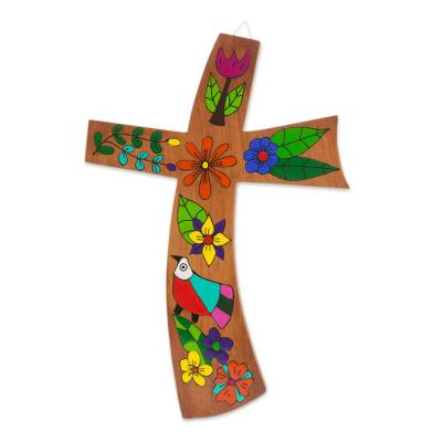 Floral Bird Motif Pinewood Wall Cross from El Salvador