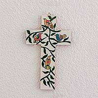 Wood wall cross, 'Holy Birds' - Bird and Leaf Motif Pinewood Wall Cross from El Salvador