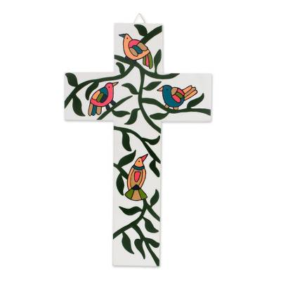 Bird and Leaf Motif Pinewood Wall Cross from El Salvador