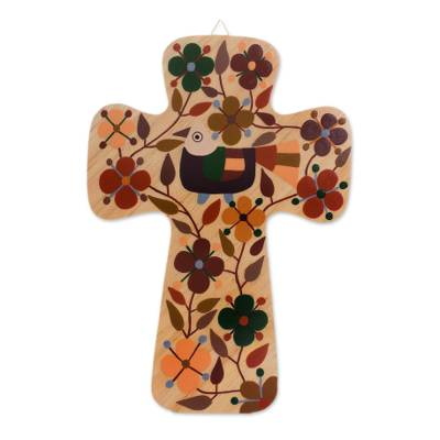 Bird and Floral Motif Pinewood Wall Cross in Brown