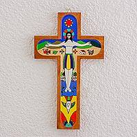 Wood wall cross, 'Beautiful Resurrection' - Hand-Painted Pinewood Wall Cross of Jesus from El Salvador