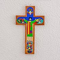 Wood wall cross, 'Road to Emmaus' - Handmade Pinewood Wall Cross of Jesus from El Salvador