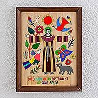 Wood relief panel, 'Proclamation of Love' - Wood Relief Panel Depicting Jesus Christ from El Salvador