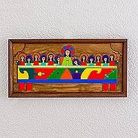 Wood relief panel, 'Holy Supper' - Hand-Painted Pinewood Relief Panel of the Last Supper