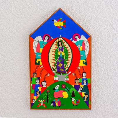 Wood relief panel, 'Praising the Virgin of Guadalupe' - Hand-Painted Pinewood Relief Panel of Mother Mary