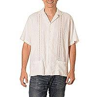 Men's cotton guayabera shirt, 'Handsome Lines in Natural' - Men's Natural Cotton Guayabera Shirt with Pockets