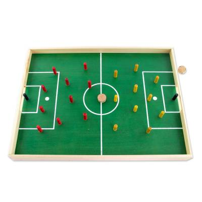 Handcrafted Wood and Cork Desktop Soccer Game from Guatemala