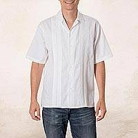 Men's cotton guayabera shirt, 'Salvadoran Beaches' - White Men's Cotton Guayabera Shirt from El Salvador