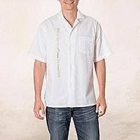 Men's cotton guayabera shirt, 'Salvadoran History' - Embroidered Men's Cotton Guayabera Shirt from El Salvador