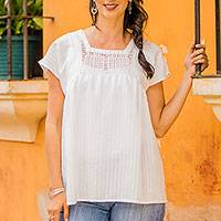 Cotton tunic, 'Summer Fresh' - Short-Sleeve Cotton Tunic Crafted in Mexico