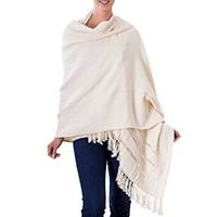 Cotton shawl, 'Alabaster' - Natural Off White Handwoven Cotton Shawl with Fringe