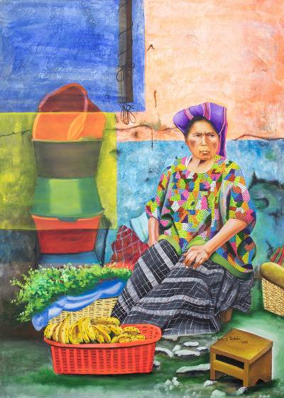 'In San Cristobal Verapaz Market' (2015) - Signed Painting of a Market Woman from Guatemala (2015)