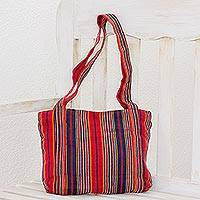Cotton tote, 'Festive Stripes' (11 inch) - Red and Navy Stripe Handwoven Cotton Lined Tote (11 Inch)