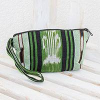 Cotton cosmetics bag, 'Glorious Stripes' - Green and Black Stripe Handwoven Cotton Cosmetics Bag