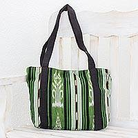 Cotton tote, 'Glorious Stripes' (13 inch) - Green and Black Stripe Handwoven Cotton Lined Tote (13 Inch)