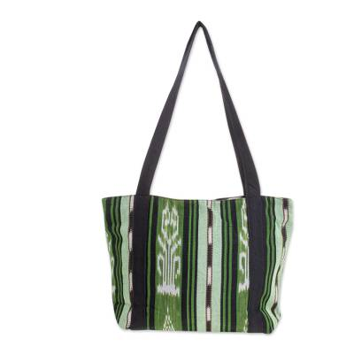 Green and Black Stripe Handwoven Cotton Lined Tote (13 Inch)