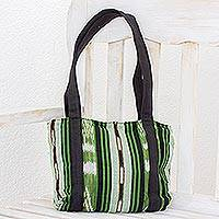 Cotton shoulder bag, 'Glorious Stripes' (11 inch) - Green and Black Stripe Handwoven Shoulder Bag (11 Inch)