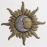 Steel wall sculpture, 'Loving Eclipse' - Handmade Sun and Moon Steel Wall Sculpture from Guatemala