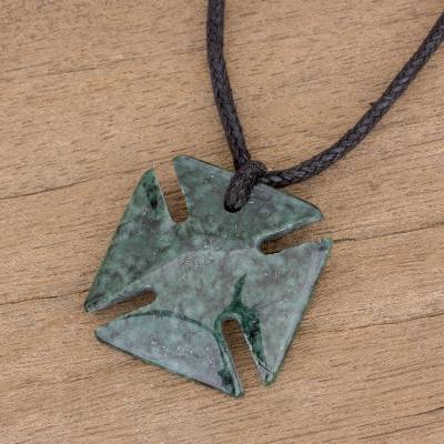 Jade pendant necklace, Dark Green Paté Cross