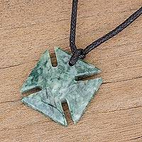Jade pendant necklace, 'Green Paté Cross' - Jade Cross Pendant in Green from Guatemala