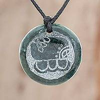 Jade pendant necklace, 'Kawoq Medallion' - Jade Pendant Necklace of Mayan Figure Kawoq from Guatemala