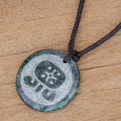Jade pendant necklace, 'Q'anil Medallion' - Jade Pendant Necklace of Mayan Figure Q'anil from Guatemala