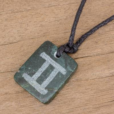 Jade pendant necklace, 'Verdant Gemini' - Jade Zodiac Gemini Pendant Necklace from Guatemala
