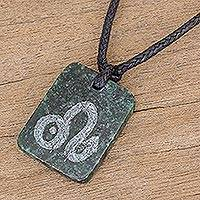 Jade pendant necklace, 'Verdant Leo' - Jade Zodiac Leo Pendant Necklace from Guatemala