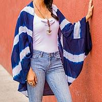 Cotton cover-up, 'Dramatic Indigo' - Natural Indigo and White Stripe Shibori Dyed Cotton Cover-Up