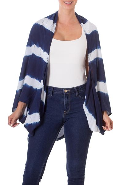 Natural Indigo and White Stripe Shibori Dyed Cotton Cover-Up