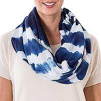 Tie-dyed cotton infinity scarf, 'Endless Indigo' - Indigo and White Stripe Shibori Dyed Cotton Infinity Scarf
