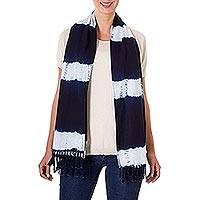 Tie-dyed cotton scarf, 'Cloud Streaked Night' - Indigo and White Stripe Shibori Dyed Cotton Fringed Scarf