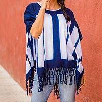 Cotton poncho, 'Sunlit Panes' - Natural Indigo and White Block Itajime Dyed Cotton Poncho