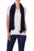 Cotton scarf, 'Salvadoran Beauty' - Crocheted Cotton Scarf in Navy with Openwork Patterns (image 2a) thumbail