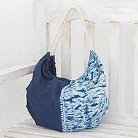Tie-dyed cotton hobo handbag, 'Shibori Indigo' - Tie-Dyed Cotton Hobo Handbag in Indigo from El Salvador