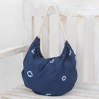 Tie-dyed cotton hobo handbag, 'Indigo Spots' - Tie-Dyed Cotton Hobo Handbag from El Salvador