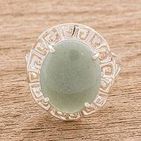 Jade cocktail ring, 'Ancestral Pride in Apple Green' - Geometric Apple Green Jade Cocktail Ring from Guatemala