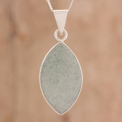 Jade pendant necklace, 'Vibrant Leaf' - Reversible Apple and Dark Green Jade Pendant Necklace