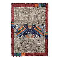 Wool area rug, 'Mayan Wonder' - Rectangular Wool Area Rug from Guatemala (2x3) (4x6)