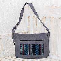 Cotton sling, 'Ancestral Tradition' - Handwoven Cotton Sling in Grey from Guatemala
