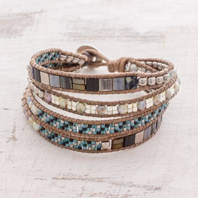 Glass beaded wristband bracelet, 'Desirous Night' - Glass Beaded Wristband Bracelet in Grey and Brown