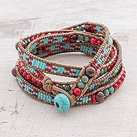 Featured review for Garnet beaded wrap bracelet, Dreams of Color