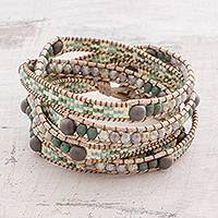 Glass beaded wrap bracelet, 'Ocean Cave' - Glass Beaded Wrap Bracelet in Grey and Pastel from Guatemala