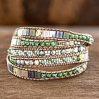 Glass beaded wrap bracelet, 'Line of Time' - Handcrafted Glass Beaded Wrap Bracelet from Guatemala