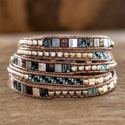 Glass beaded wrap bracelet, 'Night of Desire' - Hand-Beaded Glass Wrap Bracelet from Guatemala
