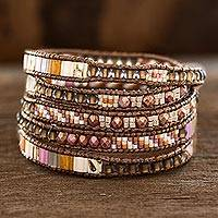 Glass beaded wrap bracelet, 'Sweet Wrap' - Sunny Glass Beaded Wrap Bracelet from Guatemala
